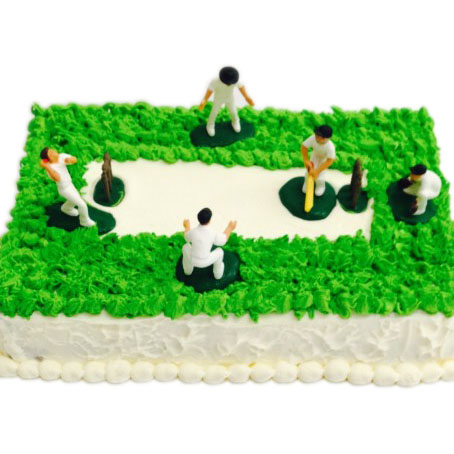 Cricket Field And Players Cake